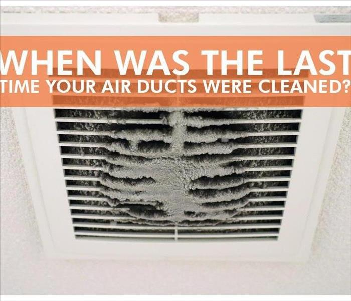 Air duct covered with dust with words that say When was the last time your air ducts were cleaned?